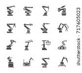 manufacturing robotics icons | Shutterstock .eps vector #717605023