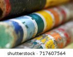 extreme closeup of old retro... | Shutterstock . vector #717607564