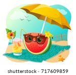 cute watermelon with sunglasses ... | Shutterstock .eps vector #717609859