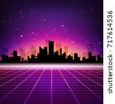retro futuristic abstract... | Shutterstock .eps vector #717614536