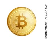 golden bitcoin coin. crypto... | Shutterstock .eps vector #717614569