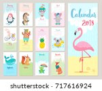 Stock vector calendar cute monthly calendar with forest animals 717616924