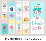 calendar 2018. cute monthly... | Shutterstock .eps vector #717616930