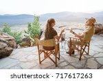 romantic couple on safari...   Shutterstock . vector #717617263