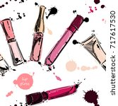seamless pattern with lip gloss.... | Shutterstock . vector #717617530