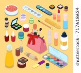 isometric make up cosmetics... | Shutterstock .eps vector #717618634