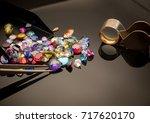 jewel or gems on black shine... | Shutterstock . vector #717620170