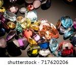 jewel or gems on black shine... | Shutterstock . vector #717620206