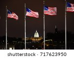us capitol building with us... | Shutterstock . vector #717623950