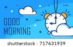 good morning poster with alarm... | Shutterstock .eps vector #717631939