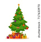christmas tree decorated vector ... | Shutterstock .eps vector #717633970