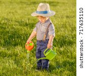 portrait of toddler child... | Shutterstock . vector #717635110