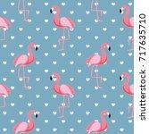 cute retro seamless flamingo... | Shutterstock .eps vector #717635710