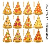 vector set slices of italian... | Shutterstock .eps vector #717635740