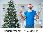 injured man celebrating... | Shutterstock . vector #717636844