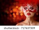 beautiful young woman portrait...   Shutterstock . vector #717637309