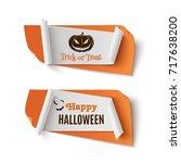 two orange  halloween  treat or ... | Shutterstock .eps vector #717638200