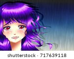 sadness anime girl under the... | Shutterstock . vector #717639118