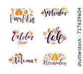 autumn hand drawn lettering... | Shutterstock .eps vector #717639604