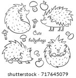 four cute hedgehogs set  hand... | Shutterstock .eps vector #717645079