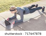 high angle view of a fit young...   Shutterstock . vector #717647878