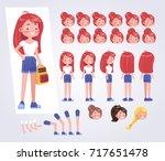 happy teenager girl  character... | Shutterstock .eps vector #717651478