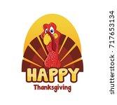 cartoon turkey thanksgiving.... | Shutterstock .eps vector #717653134