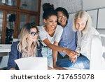 smiling black girl spending...   Shutterstock . vector #717655078