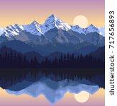 vector illustration   lake in... | Shutterstock .eps vector #717656893