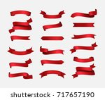 ribbon set vintage design. red... | Shutterstock .eps vector #717657190