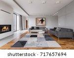 elegant villa living room with... | Shutterstock . vector #717657694