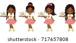 vector cute little african... | Shutterstock .eps vector #717657808