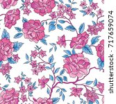 floral seamless pattern. flower ... | Shutterstock .eps vector #717659074