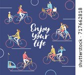 city cyclists poster. including ... | Shutterstock .eps vector #717662818