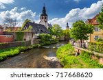 cityscape by the river alb in... | Shutterstock . vector #717668620