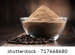 composition with bowl of ground ... | Shutterstock . vector #717668680