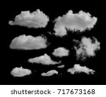 white clouds on a black... | Shutterstock . vector #717673168