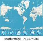americas centered world map and ... | Shutterstock .eps vector #717674083