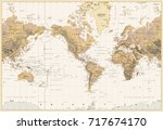 vintage physical world map... | Shutterstock .eps vector #717674170