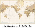 vintage physical world map... | Shutterstock .eps vector #717674176