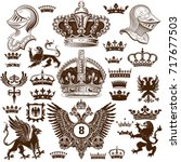heraldry elements set | Shutterstock .eps vector #717677503
