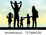 family silhouettes in nature. | Shutterstock .eps vector #717684130