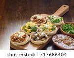 authentic mexican sopes with... | Shutterstock . vector #717686404