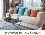 Colorful Pillows On Modern Sof...