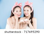 two beauty woman with make up... | Shutterstock . vector #717695290