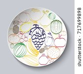 decorative plate with painted... | Shutterstock . vector #717699898