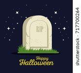gravestone halloween cartoon | Shutterstock .eps vector #717700264