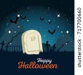 gravestone halloween cartoon | Shutterstock .eps vector #717700660