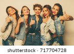 group of five girls friends  ... | Shutterstock . vector #717704728