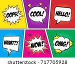 retro comic speech bubbles set...   Shutterstock .eps vector #717705928